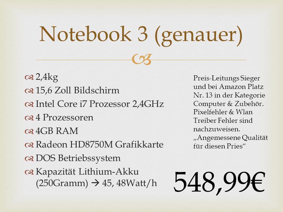 2,4kg 15,6 Zoll Bildschirm Intel Core i7 Prozessor 2,4GHz 4 Prozessoren 4GB RAM Radeon HD8750M Grafikkarte DOS Betriebssystem Kapazität Lithium-Akku (250Gramm) 45, 48Watt/h Notebook 3 (genauer) Preis-Leitungs Sieger und bei Amazon Platz Nr.