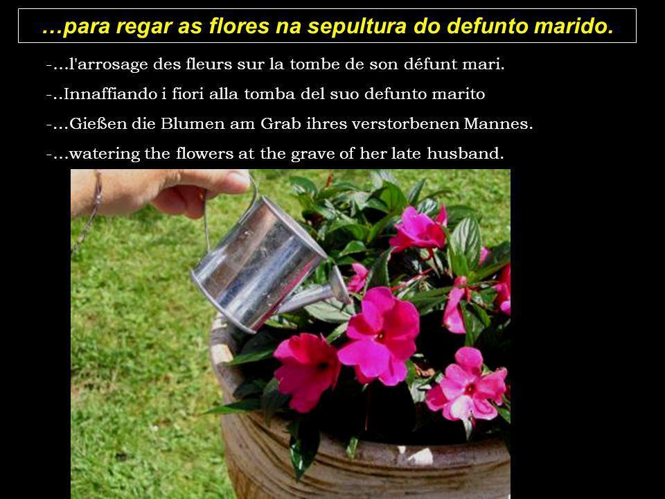 …para regar as flores na sepultura do defunto marido.