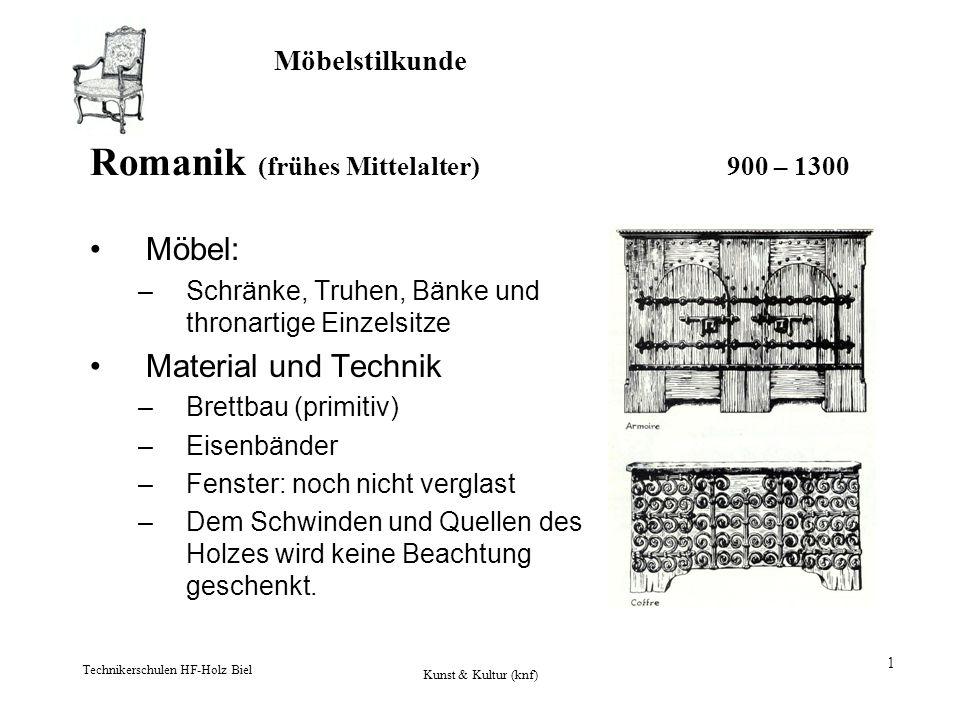 Möbelstilkunde Technikerschulen HF-Holz Biel Kunst & Kultur (knf) 1 Romanik (frühes Mittelalter) 900 – 1300 Möbel: –Schränke, Truhen, Bänke und throna