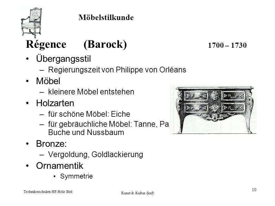 Möbelstilkunde Technikerschulen HF-Holz Biel Kunst & Kultur (knf) 10 Régence (Barock) 1700 – 1730 Übergangsstil –Regierungszeit von Philippe von Orléa