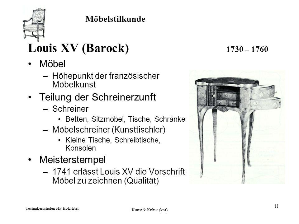 Möbelstilkunde Technikerschulen HF-Holz Biel Kunst & Kultur (knf) 11 Louis XV (Barock) 1730 – 1760 Möbel –Höhepunkt der französischer Möbelkunst Teilu