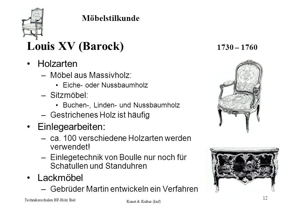 Möbelstilkunde Technikerschulen HF-Holz Biel Kunst & Kultur (knf) 12 Louis XV (Barock) 1730 – 1760 Holzarten –Möbel aus Massivholz: Eiche- oder Nussba