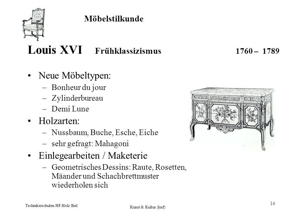 Möbelstilkunde Technikerschulen HF-Holz Biel Kunst & Kultur (knf) 14 Louis XVI Frühklassizismus 1760 – 1789 Neue Möbeltypen: –Bonheur du jour –Zylinde