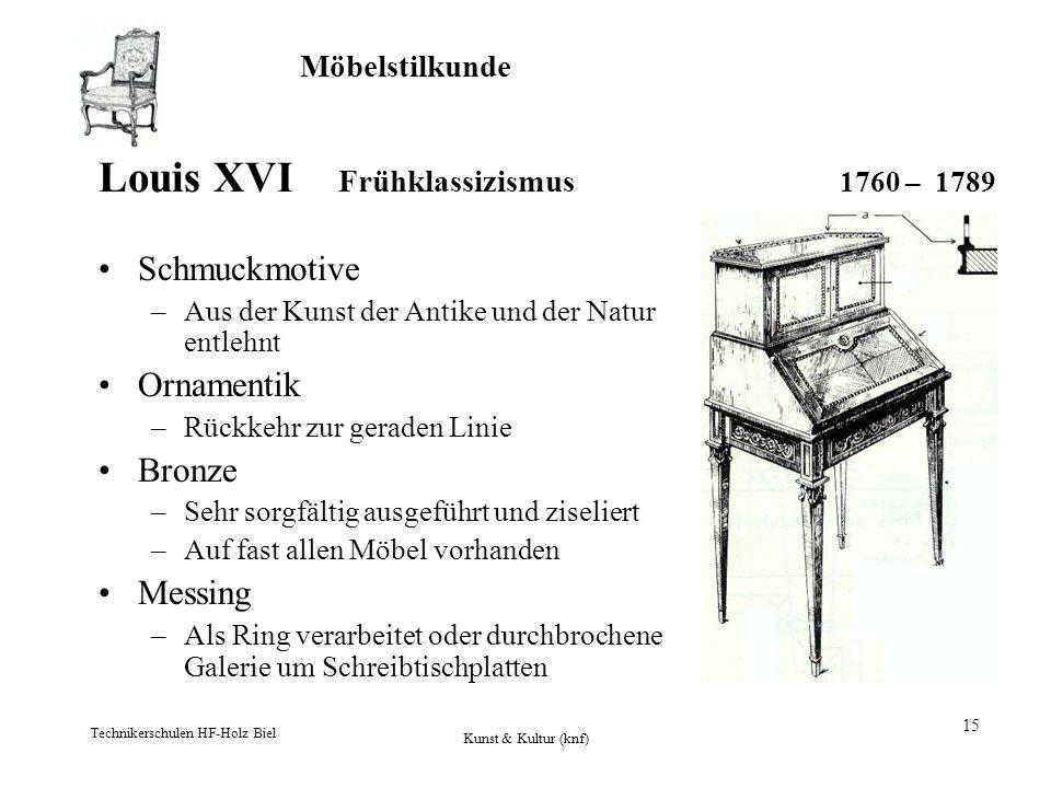 Möbelstilkunde Technikerschulen HF-Holz Biel Kunst & Kultur (knf) 15 Louis XVI Frühklassizismus 1760 – 1789 Schmuckmotive –Aus der Kunst der Antike un