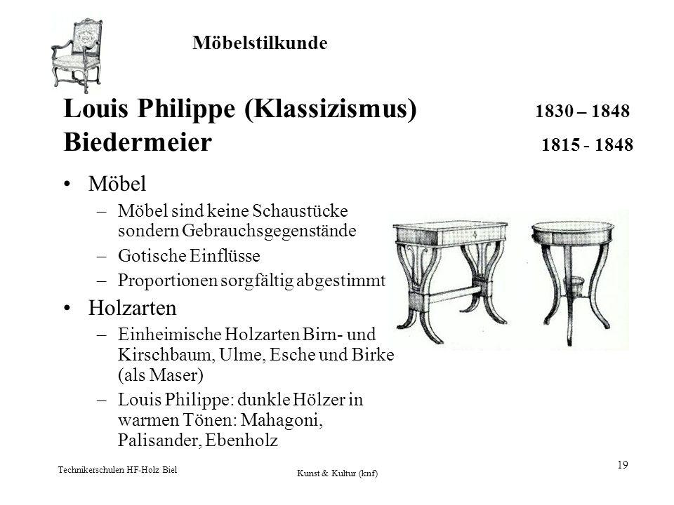 Möbelstilkunde Technikerschulen HF-Holz Biel Kunst & Kultur (knf) 19 Louis Philippe (Klassizismus) 1830 – 1848 Biedermeier 1815 - 1848 Möbel –Möbel si
