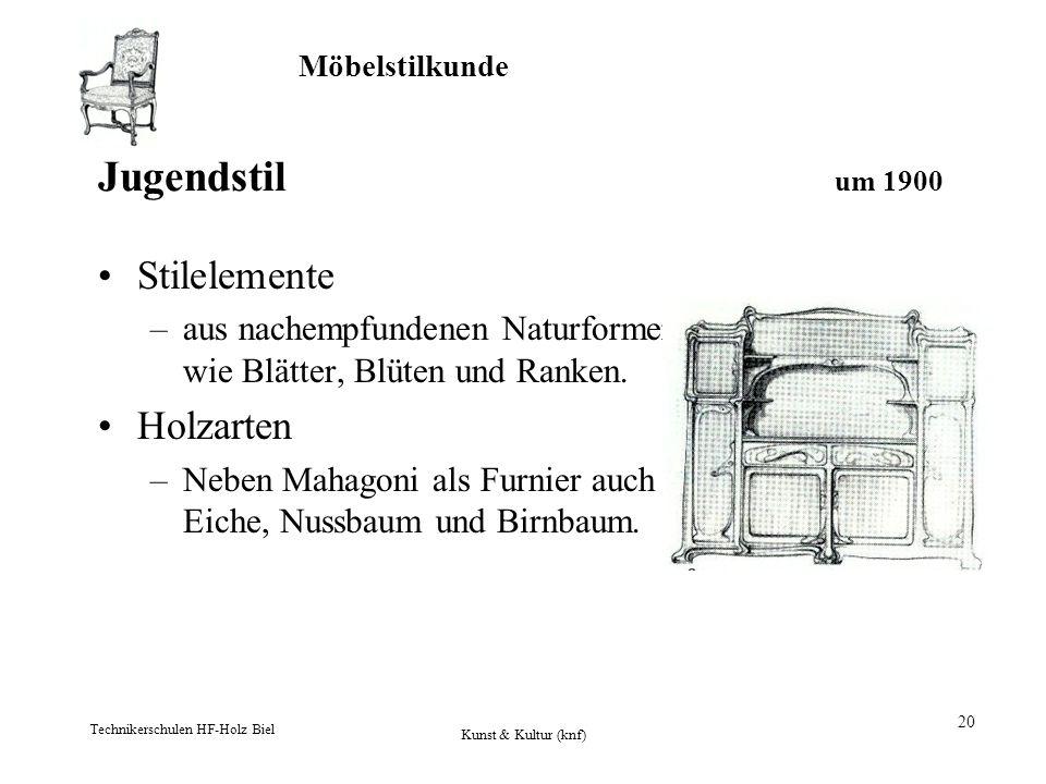 Möbelstilkunde Technikerschulen HF-Holz Biel Kunst & Kultur (knf) 20 Jugendstil um 1900 Stilelemente –aus nachempfundenen Naturformen wie Blätter, Blü