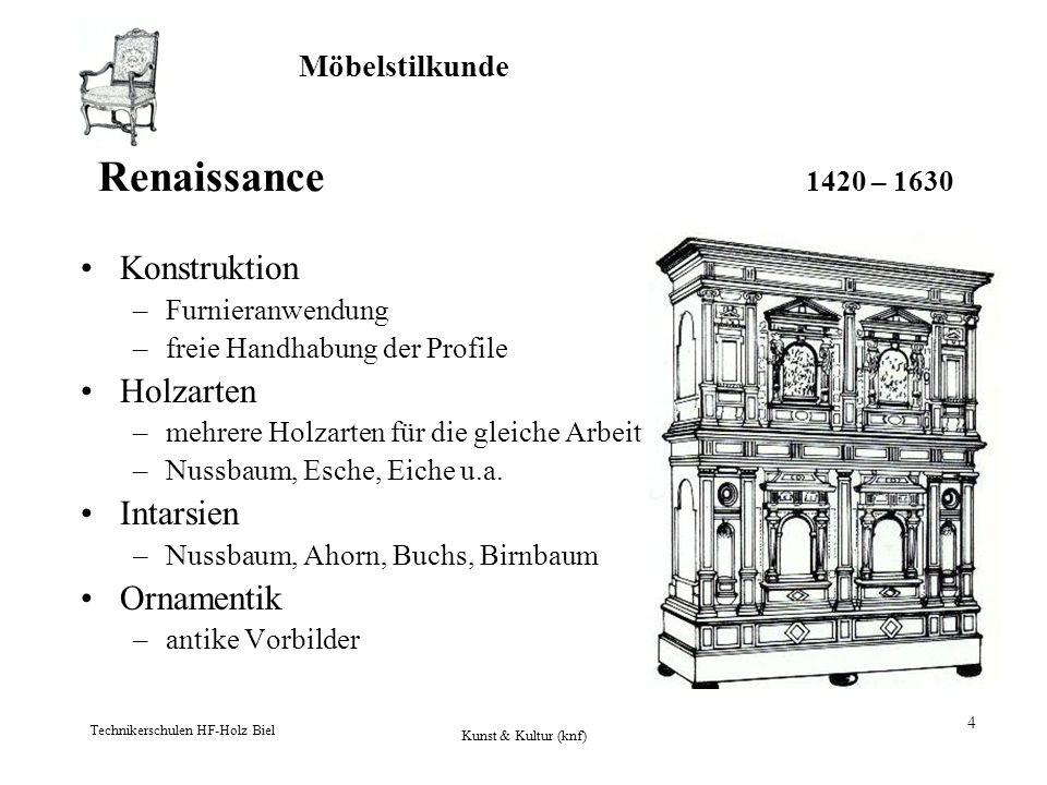 Möbelstilkunde Technikerschulen HF-Holz Biel Kunst & Kultur (knf) 4 Renaissance 1420 – 1630 Konstruktion –Furnieranwendung –freie Handhabung der Profi