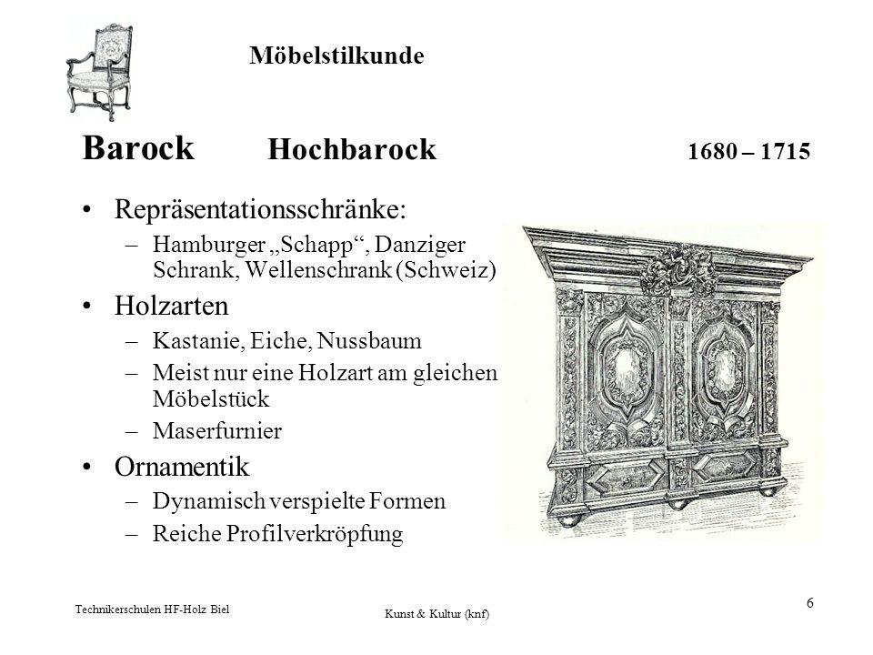 Möbelstilkunde Technikerschulen HF-Holz Biel Kunst & Kultur (knf) 6 Barock Hochbarock 1680 – 1715 Repräsentationsschränke: –Hamburger Schapp, Danziger