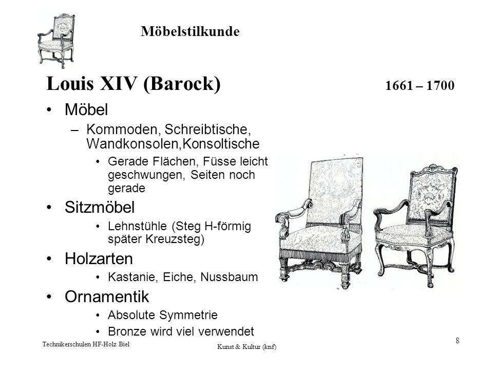 Möbelstilkunde Technikerschulen HF-Holz Biel Kunst & Kultur (knf) 9 Louis XIV (Barock) 1642 – 1732 Einlegearbeiten –Herstellung von Möbelpaaren Materialien –Kupfer –Zinn –Elfenbein –Messingblech –Schildpatt