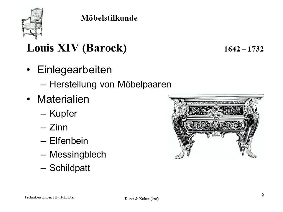 Möbelstilkunde Technikerschulen HF-Holz Biel Kunst & Kultur (knf) 9 Louis XIV (Barock) 1642 – 1732 Einlegearbeiten –Herstellung von Möbelpaaren Materi