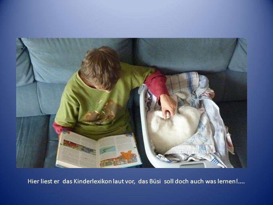 Hier liest er das Kinderlexikon laut vor, das Büsi soll doch auch was lernen!....