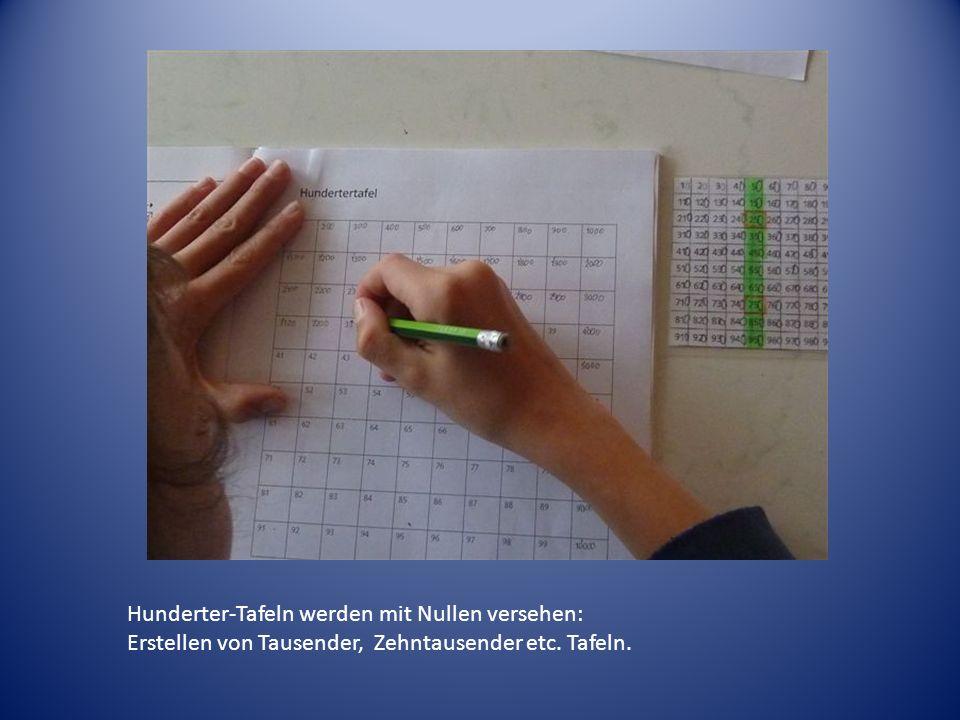 Hunderter-Tafeln werden mit Nullen versehen: Erstellen von Tausender, Zehntausender etc. Tafeln.
