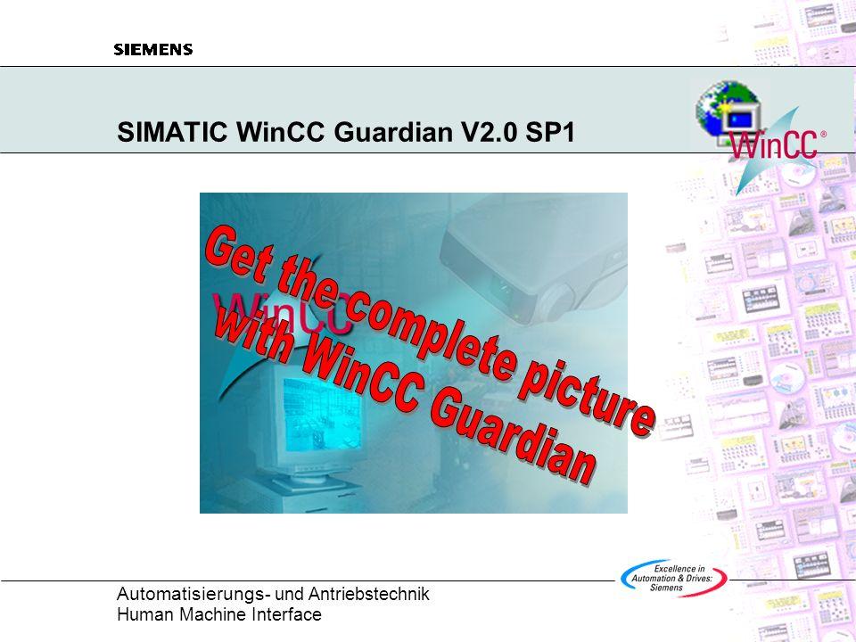 Automatisierungs - und Antriebstechnik Human Machine Interface WinCC Guardian WAN-basierte Kommunikation Typische Anwendungsfälle Konfiguration Projekterstellung Highlights