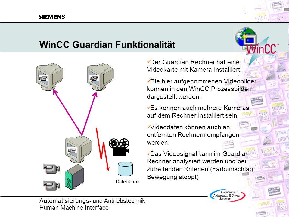 Automatisierungs - und Antriebstechnik Human Machine Interface WinCC Guardian Funktionalität Der Guardian Rechner hat eine Videokarte mit Kamera insta