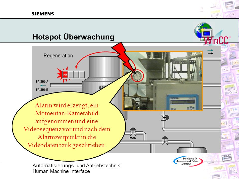 Automatisierungs - und Antriebstechnik Human Machine Interface Hotspot Überwachung Alarm wird erzeugt, ein Momentan-Kamerabild aufgenommen und eine Vi