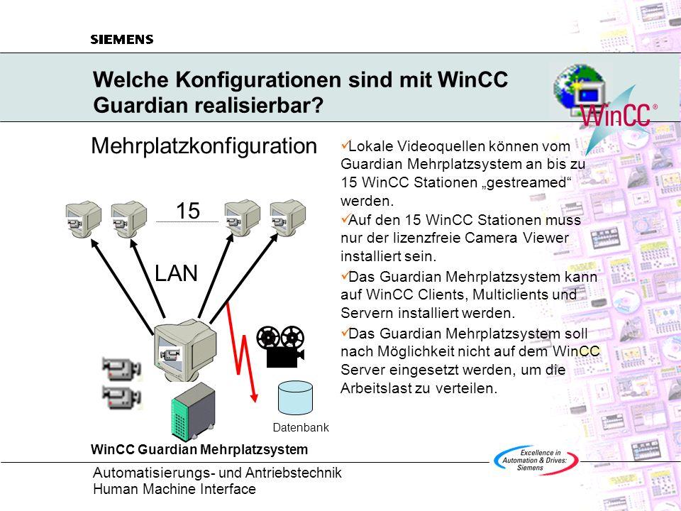 Automatisierungs - und Antriebstechnik Human Machine Interface Welche Konfigurationen sind mit WinCC Guardian realisierbar? Mehrplatzkonfiguration Dat