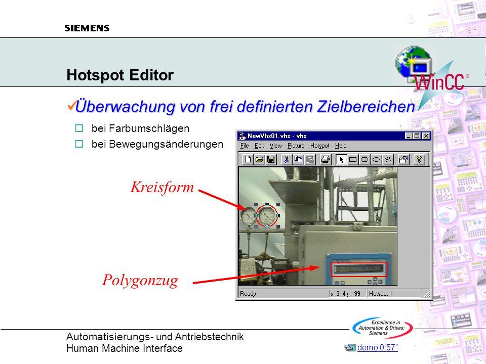 Automatisierungs - und Antriebstechnik Human Machine Interface Hotspot Editor Überwachung von frei definierten Zielbereichen Überwachung von frei defi