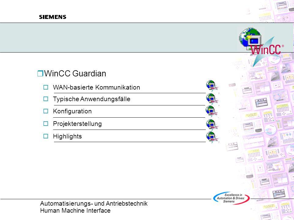 Automatisierungs - und Antriebstechnik Human Machine Interface WinCC Guardian WAN-basierte Kommunikation Typische Anwendungsfälle Konfiguration Projek