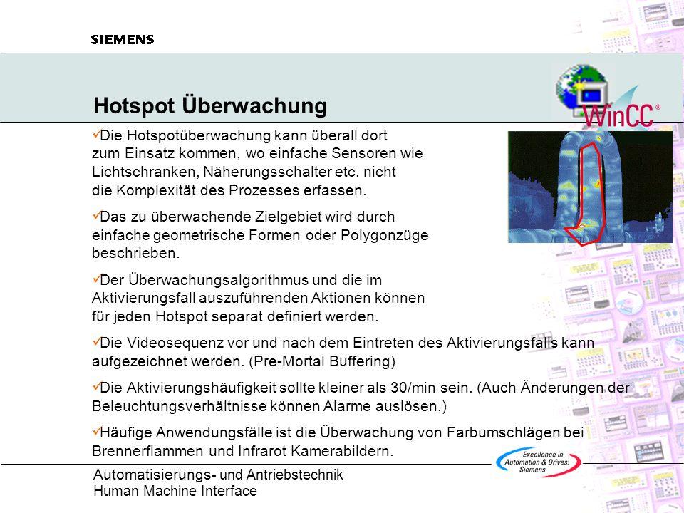 Automatisierungs - und Antriebstechnik Human Machine Interface Hotspot Überwachung Die Hotspotüberwachung kann überall dort zum Einsatz kommen, wo ein