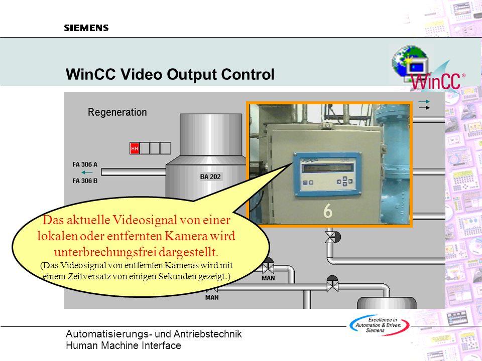 Automatisierungs - und Antriebstechnik Human Machine Interface WinCC Video Output Control Das aktuelle Videosignal von einer lokalen oder entfernten K