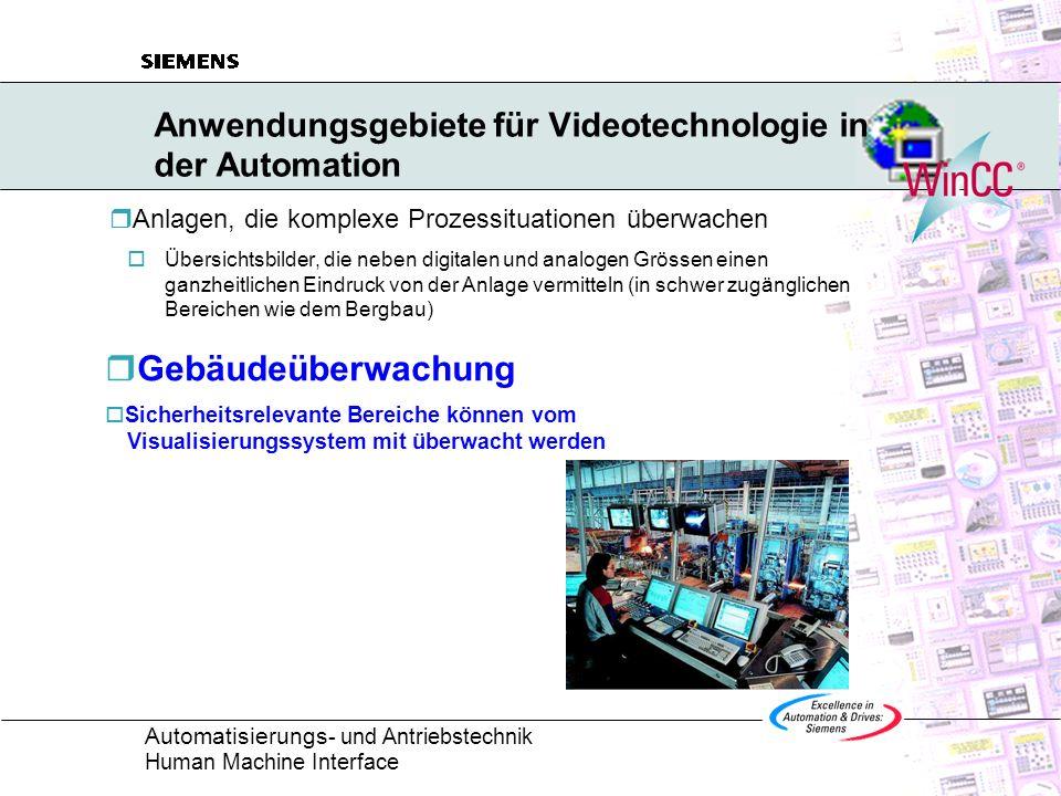 Automatisierungs - und Antriebstechnik Human Machine Interface Anwendungsgebiete für Videotechnologie in der Automation Anlagen, die komplexe Prozessi