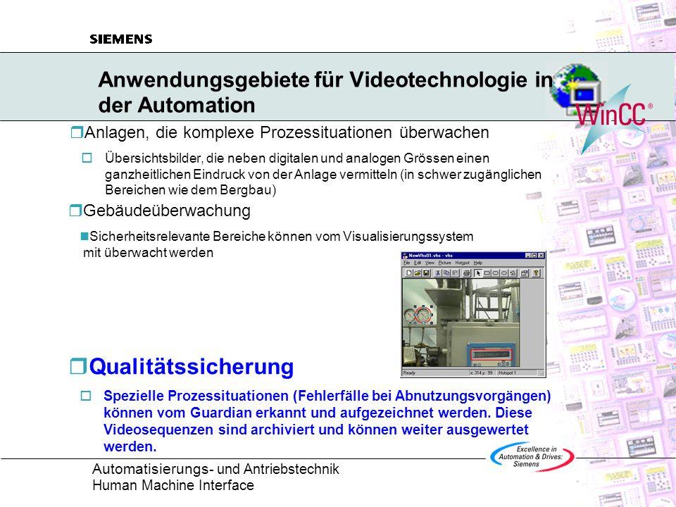 Automatisierungs - und Antriebstechnik Human Machine Interface WinCC Guardian im Überblick Mit dem Guardian werden in WinCC Videodaten als Signalquellen integriert.