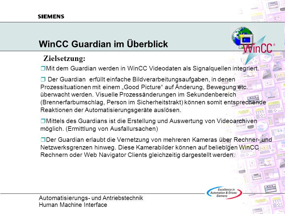 Automatisierungs - und Antriebstechnik Human Machine Interface WinCC Guardian im Überblick Mit dem Guardian werden in WinCC Videodaten als Signalquell