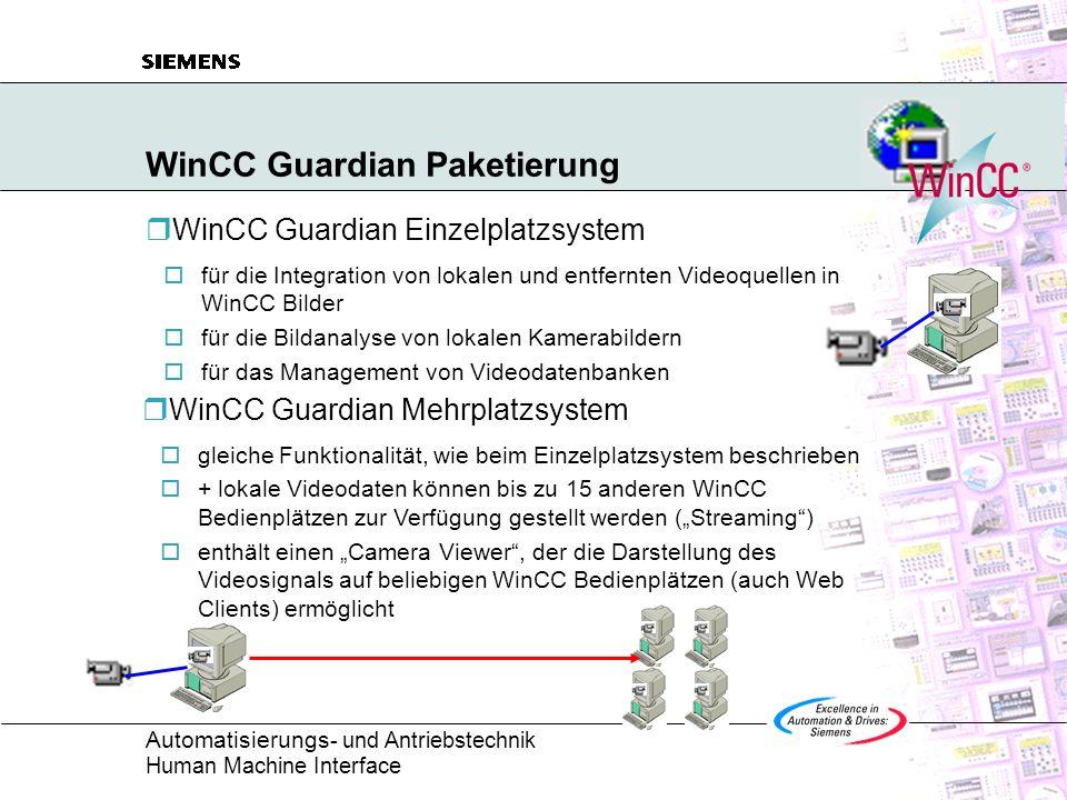 Automatisierungs - und Antriebstechnik Human Machine Interface WinCC Guardian Systemvoraussetzungen WinCC Guardian Softwaretools:WinCC Version 5 SP2 Videokartentreiber WinCC Guardian Software Betriebssystem:Windows NT 4.0 SP5/6, Win2000 SP1 Hardware:Pentium III 500MHz, 128MByte (256MByte Mehrplatzsystem) Videokarte + Kamera (Winnov Videum AV, Osprey100) Mikrophon und Soundkarte für Video Streaming Camera Viewer Softwaretools:WinCC Version 5 SP2 oder Web Navigator Client Software WinCC Camera Viewer Betriebssystem:Windows 98/ME oder NT 4.0/Win2000 Im Lieferumfang des Optionspaketes WinCC Guardian enthalten.