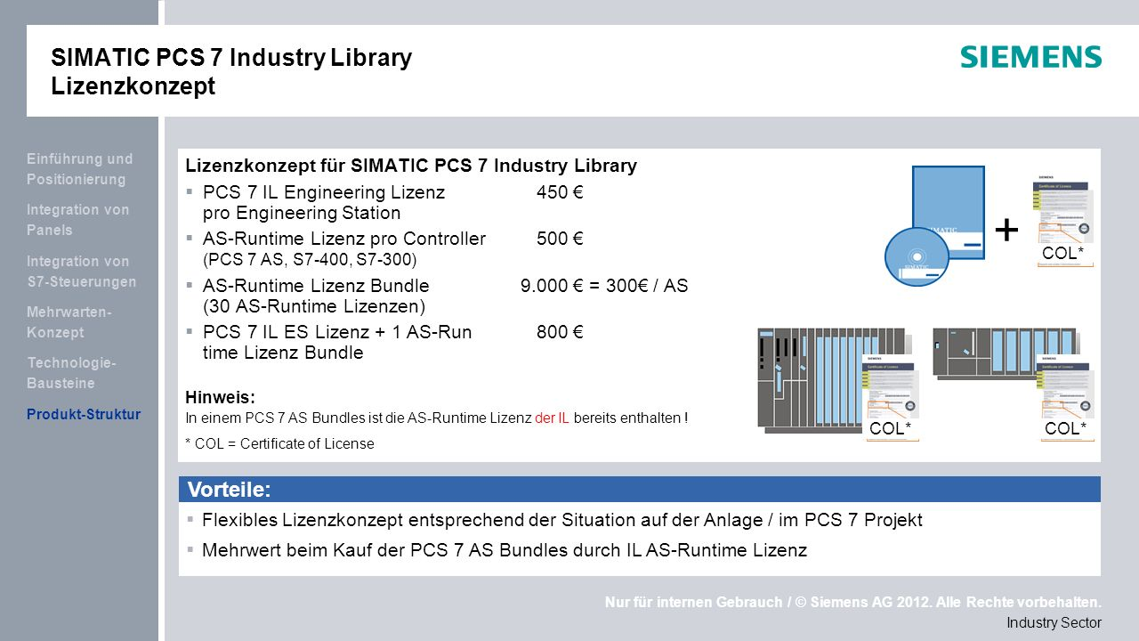 Nur für internen Gebrauch / © Siemens AG 2012.Alle Rechte vorbehalten.