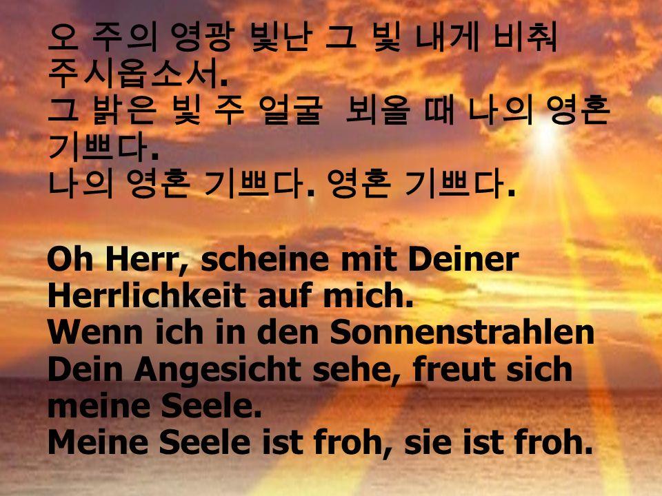 ... Oh Herr, scheine mit Deiner Herrlichkeit auf mich. Wenn ich in den Sonnenstrahlen Dein Angesicht sehe, freut sich meine Seele. Meine Seele ist fro