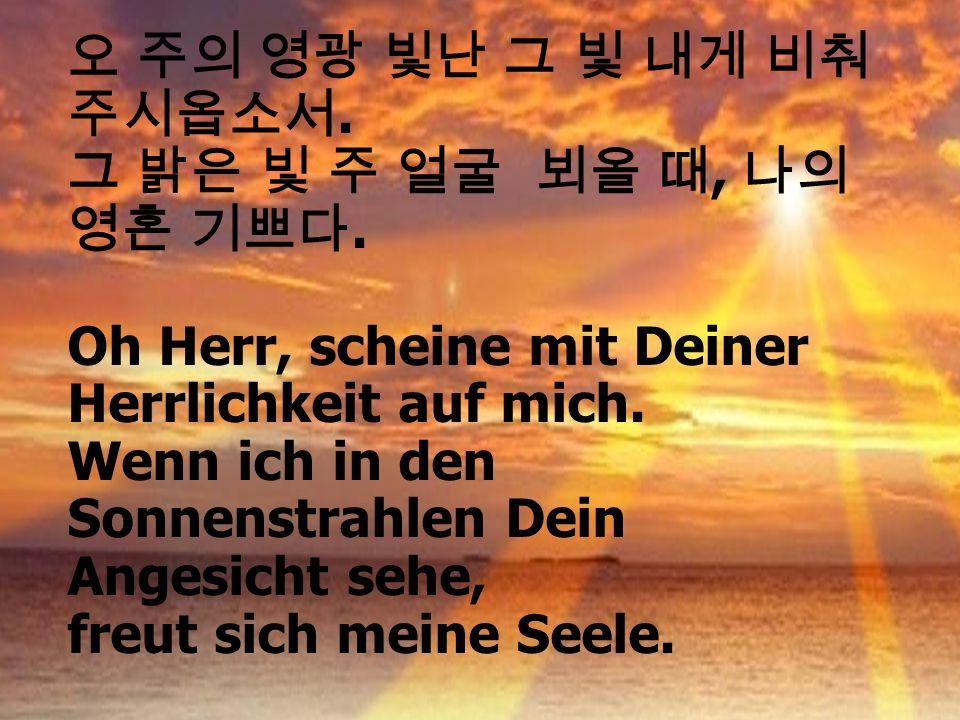 .,. Oh Herr, scheine mit Deiner Herrlichkeit auf mich. Wenn ich in den Sonnenstrahlen Dein Angesicht sehe, freut sich meine Seele.