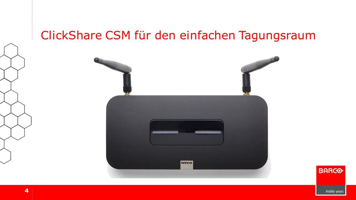 Derselbe ClickShare Button unterstützt die Verwendung eigener Geräte Bis zu 8 Teilnehmer Freigabe eines Benutzers auf dem Bildschirm Klein, aber leistungsstark 5