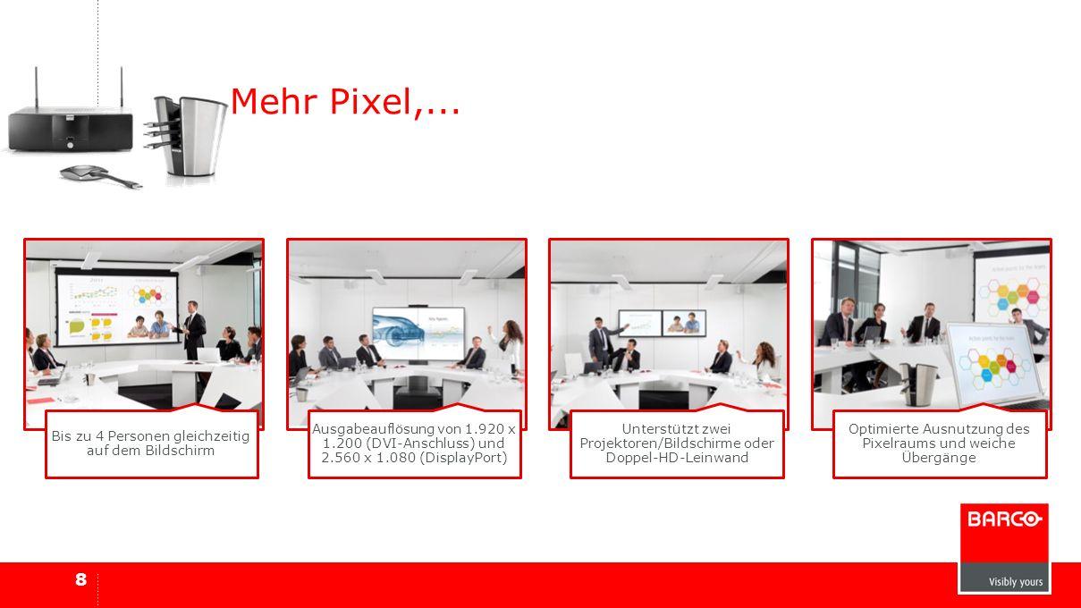 8 Mehr Pixel,... Bis zu 4 Personen gleichzeitig auf dem Bildschirm Ausgabeauflösung von 1.920 x 1.200 (DVI-Anschluss) und 2.560 x 1.080 (DisplayPort)