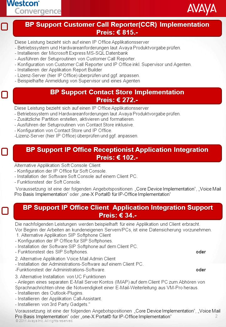 © 2011 Avaya Inc.All rights reserved. 3 Individueller IP Office Implement.