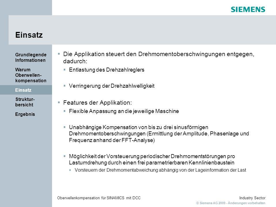 © Siemens AG 2009 - Änderungen vorbehalten Industry SectorOberwellenkompensation für SINAMICS mit DCC Ergebnis Struktur- bersicht Einsatz Warum Oberwellen- kompensation Grundlegende Informationen Strukturübersicht DCC-Applikation SINAMICS-Antrieb Motor
