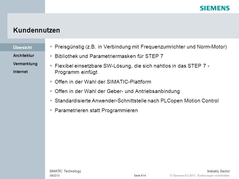 © Siemens AG 2013 - Änderungen vorbehalten Industry Sector 09/2013Seite 4/14 SIMATIC Technology Internet Vermarktung Architektur Übersicht Kundennutze