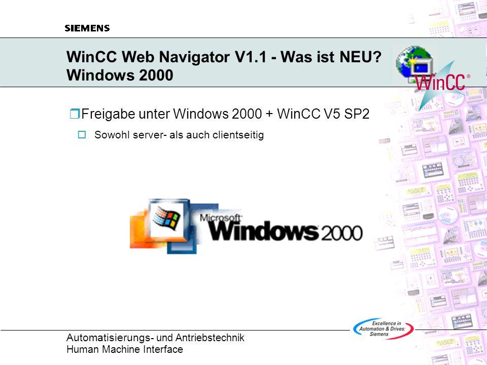 Automatisierungs - und Antriebstechnik Human Machine Interface WinCC Web Navigator im Überblick Standard Lizenzverwaltung Die Lizenzprüfung erfolgt ausschließlich am Server Das Optionspaket Web Navigator ist nach Anzahl der max.