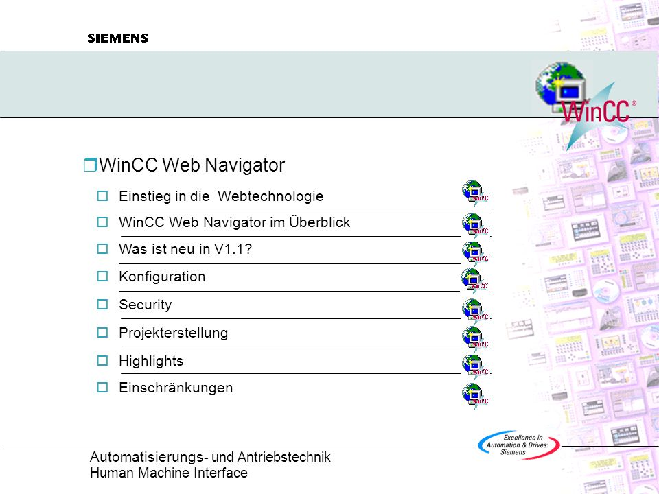 Automatisierungs - und Antriebstechnik Human Machine Interface SIMATIC WinCC Web Navigator 1.1