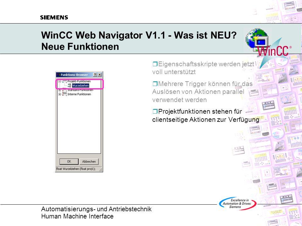 Automatisierungs - und Antriebstechnik Human Machine Interface WinCC Web Navigator V1.1 - Was ist NEU.