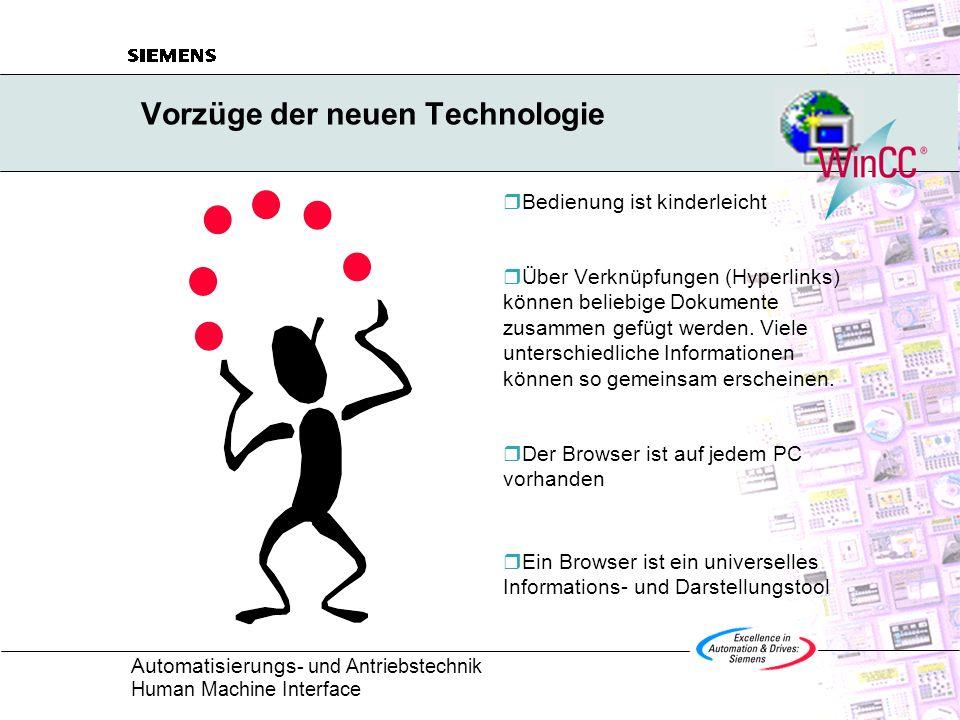 Automatisierungs - und Antriebstechnik Human Machine Interface Betrachten wir unsere heutige Informationslandschaft: Jeder PC ist vernetzt Durch den Aufbau eines eigenen Intranets können für alle Mitarbeiter Informationen hinterlegt werden.
