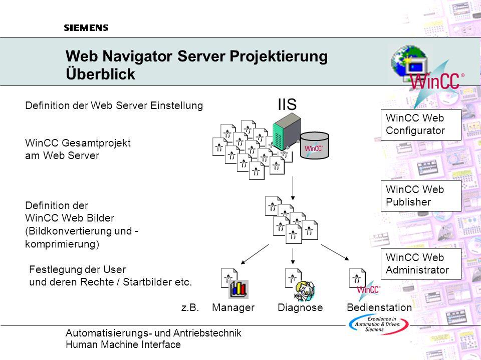 Automatisierungs - und Antriebstechnik Human Machine Interface Web Navigator Server Projektierung Zugriffsrechte - WinCC Web Administrator Definition der Rechte des jeweiligen Web Navigator Client mit dem WinCC Web Administrator nur Beobachten / uneingeschränktes Bedienen und Beobachten ab Stufe 2 ist auch eine Abstufung durch den Zugriff auf die WinCC User Administrator Rechte vorgesehen Auswahl des Startbildes und der Sprache individuell für jeden Web Navigator Client Definition der Benutzer und der nutzerspezifischen Einträge mit dem WinCC Web Administrator