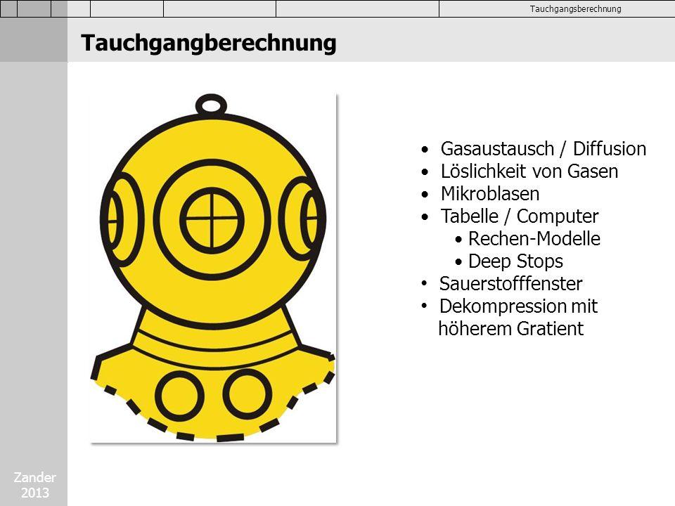 Zander 2013 Tauchgangsberechnung Tauchgangberechnung Gasaustausch / Diffusion Löslichkeit von Gasen Mikroblasen Tabelle / Computer Rechen-Modelle Deep