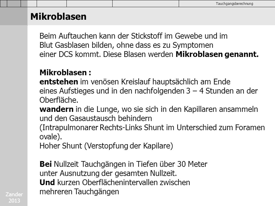 Zander 2013 Tauchgangsberechnung Austauchen mit Sauerstoff (BG)