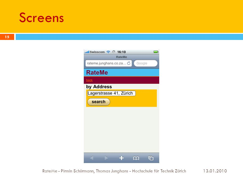 Screens 13.01.2010 RateMe - Pirmin Schürmann, Thomas Junghans - Hochschule für Technik Zürich 15