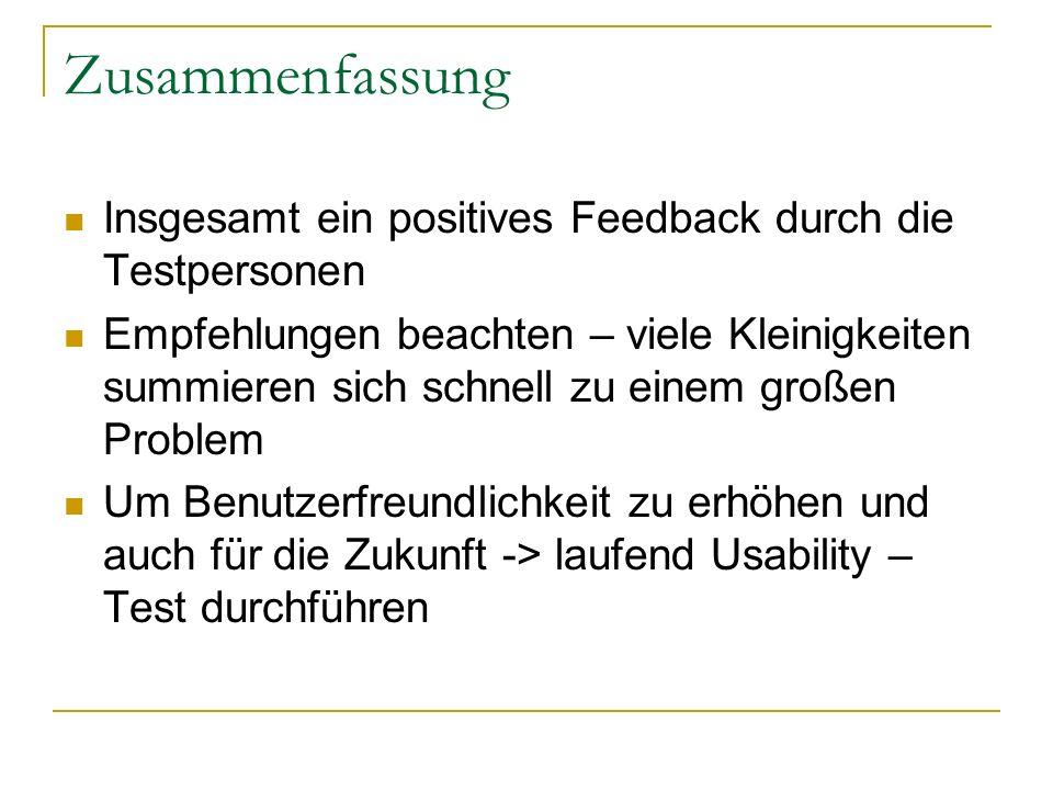 Zusammenfassung Insgesamt ein positives Feedback durch die Testpersonen Empfehlungen beachten – viele Kleinigkeiten summieren sich schnell zu einem gr