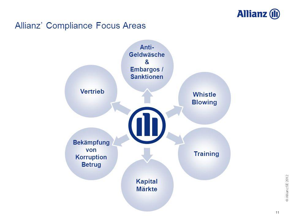 © Allianz SE 2012 11 Allianz Compliance Focus Areas Bekämpfung von Korruption Betrug Training Anti- Geldwäsche & Embargos / Sanktionen Vertrieb Kapita