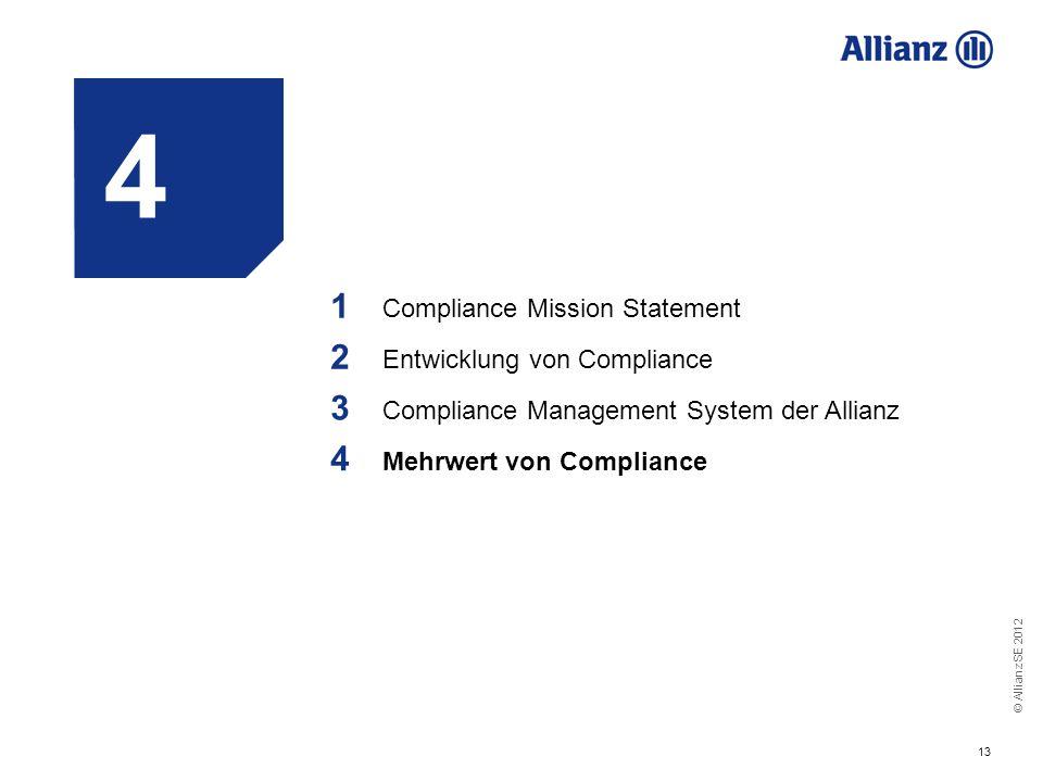© Allianz SE 2012 13 4 1 Compliance Mission Statement 2 Entwicklung von Compliance 3 Compliance Management System der Allianz 4 Mehrwert von Complianc