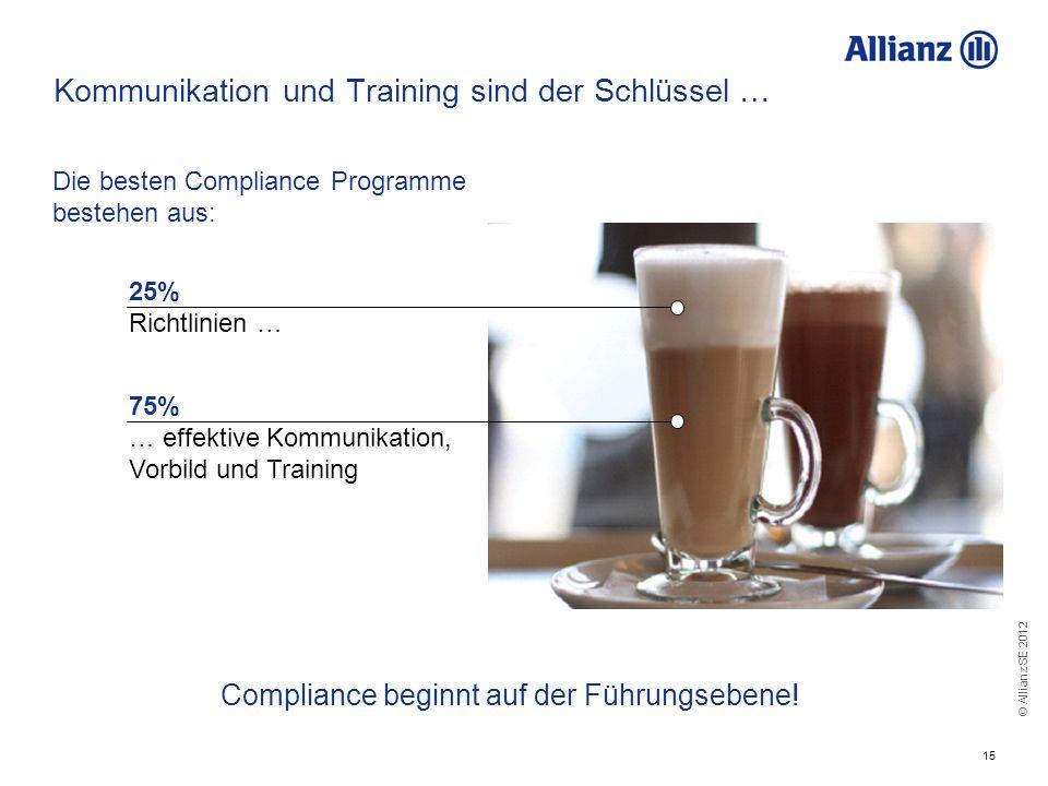 © Allianz SE 2012 15 Kommunikation und Training sind der Schlüssel … Compliance beginnt auf der Führungsebene! Die besten Compliance Programme bestehe