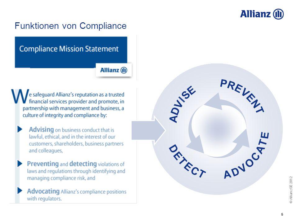© Allianz SE 2012 55 Funktionen von Compliance