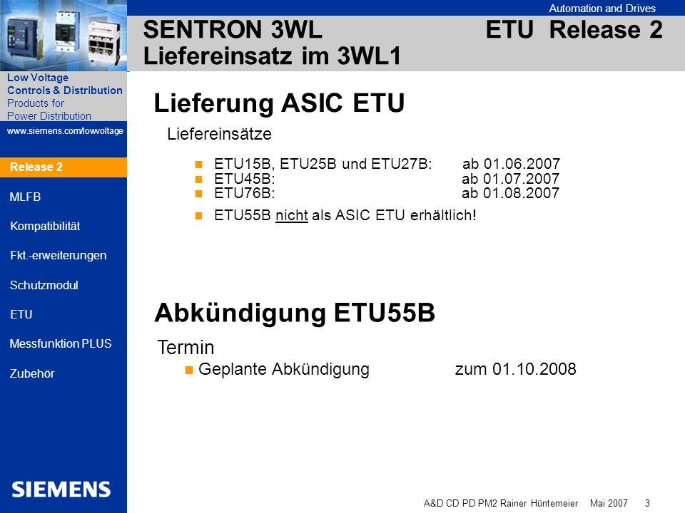 Automation and Drives A&D CD PD PM2 Rainer Hüntemeier Mai 2007 4 Products for Power Distribution www.siemens.com/lowvoltage Low Voltage Controls & Distribution Release 2 MLFB Kompatibilität Fkt.-erweiterungen Schutzmodul ETU Messfunktion PLUS Zubehör SENTRON 3WL ETU Release 2 Altes Produktspektrum = Neues Produktspektrum ETU15B / ETU25B / ETU27B / ETU45B / ETU76B Funktionen Einstellbereich Kennlinien Toleranzen Genauigkeiten Erdschluss-Schutzmodul GFM Display für ETU45B Kommunikationsanbindung sind unverändert und kompatibel Release 2